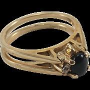10K YG Reversible Cubic Zirconia & Black Onyx Ring Sz 11