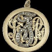 "14K YG Diamond Large Monogram Charm/Pendant ""LRF"""