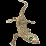 14K Lizard Pin/Brooch with Emerald Eyes