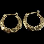 14K YG Puffy Diamond Pattern Hoop Earrings