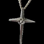 14K White Gold Cross w/ Diamond