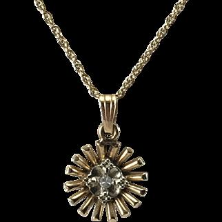 14K YG Starburst Necklace w/ Diamond