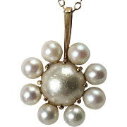 Swedish 18K Cultured Pearl Pendant