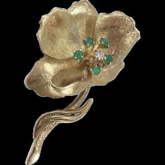 14K YG Flower Pin with Emeralds & Diamond