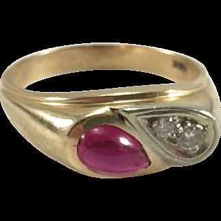 14K YG Synthetic Ruby & Diamond Ring Sz 11