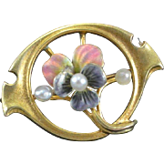 10K Yellow Gold, Seed Pearl & Enamel Art Nouveau Pin/Brooch