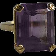 13ct Emerald Cut Amethyst 14K Cocktail Ring