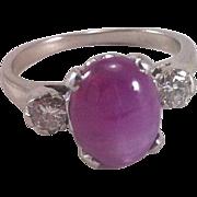 Star Ruby Diamond 14K White Gold Ring