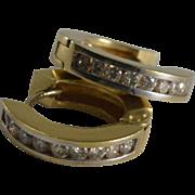 14K Yellow Gold Diamond Huggie Hoop Earrings