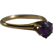 Amethyst Solitaire in 14K Yellow Gold Setting