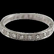 Art Deco Platinum & Diamond Wedding Band Size 7