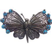 Sterling Silver Filigree Butterfly with Turquoise Beads