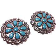Large Zuni Cluster Turquoise and Sterling Silver Clip Earrings