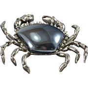 WINC Sterling Silver & Hematite Crab Pin/Brooch