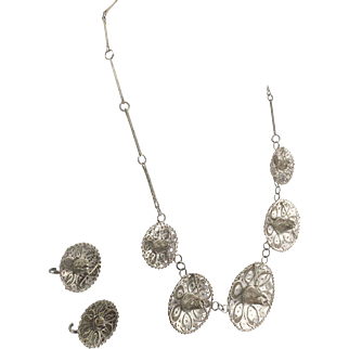 Mexican Silver Filigree Cowboy Hat Necklace & Earrings