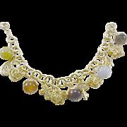 "Gemstone & Sterling Silver Vermeil 8"" Charm Bracelet"