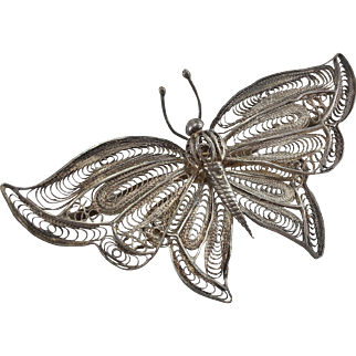 Large Silver Filigree Butterfly Pin/Brooch