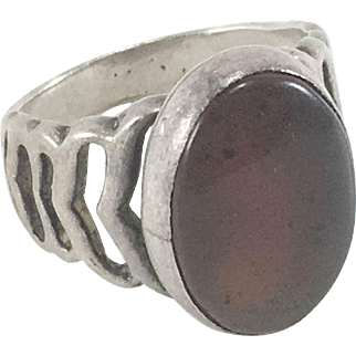 Sterling Silver Agate Ring Size 5 1/2