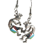 Bill Willie Native American Navajo Sterling Silver Inlay Kokopelli Dangle Earrings
