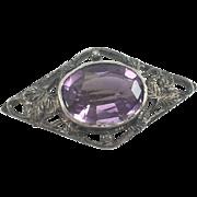 English Sterling Silver & Amethyst Pin/Brooch