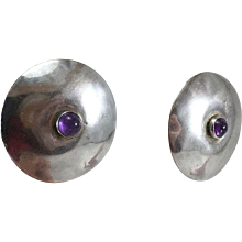 Tulla Booth Sterling Silver & Amethyst Disk Earrings - Red Tag Sale Item