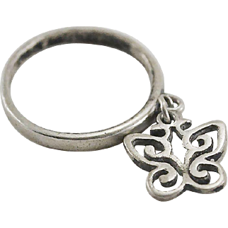 James Avery Dangle Spring Butterfly Charm Ring/Band