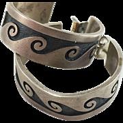 Hopi George Phillips Sterling Silver Wave Motif Hoop Earrings