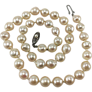 "8mm Cultured Pearls 17"" Necklace with Sterling Silver Clasp"