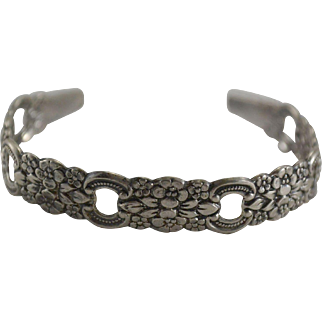 Sterling Silver Cuff Bracelet with Floral Pattern