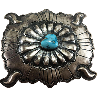 Running Bear Shop Sterling Silver & Turquoise Belt Buckle