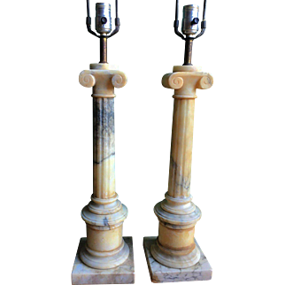 Large Pair of Ionic Column Alabaster/Marble Lamps