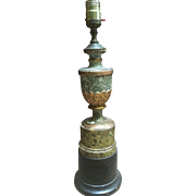 Carved Wood Faux Green Marble Urn Table Lamp