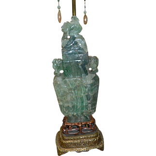 Asian Carved Green Fluorite Table Lamp