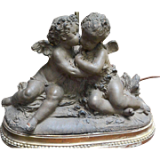 French 19th Century Signed Terracotta Kissing Putti/Cherub Statue Lamp
