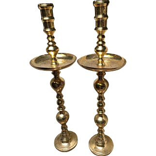 Brass Floor Candlesticks with Middle Eastern Etched Decoration