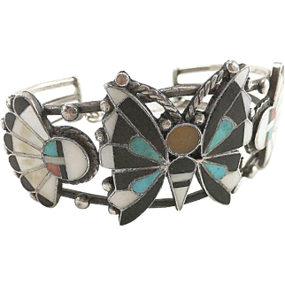 Zuni Sterling Silver Butterfly & Sun Face Inlaid Cuff Bracelet