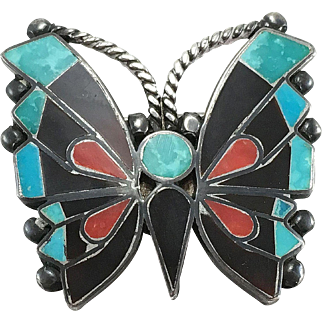 Zuni Sterling Silver Inlaid Butterfly Pin