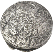 Italian 800 Silver Fancy Etched Compact