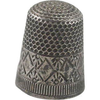 Sterling Silver Thimble with Stamped Design Size 5