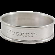 "Gorham Sterling Silver Napkin Ring ""Robert"""
