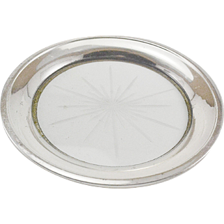 Sterling Silver & Glass Wine Bottle Coaster or Lemon Dish