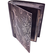 Silverplate Match Safe/Box in the Shape of a Book with Acorn and Oak Leaf Design