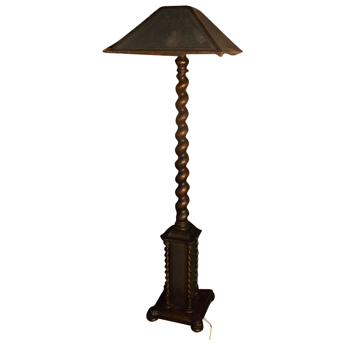 Oak Barley Twist Floor Lamp With Original Caned Shade