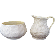 Belleek Lotus Sugar and Creamer Second Green Mark