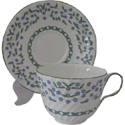 Aynsley England Forget Me Not Flat Cup and Saucer