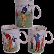 Duchess China England Set Of Three Golfers Coffee Mugs