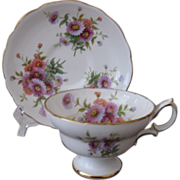 Vintage Hammersley Footed Cup and Saucer Scalloped Floral Pattern 4149