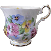 Elizabethan Fine Bone China Pansies Pattern Footed Cup