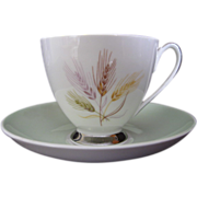 Vintage Queen Anne England Cup and Saucer with Wheat Pattern