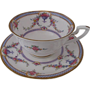 Royal Worcester England Rosemary Footed Cup and Saucer